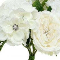 Bouquet decò bianco con perle e strass 29cm