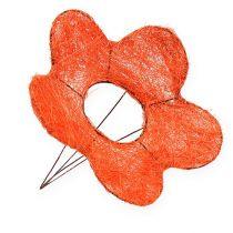 Polsini fiore di sisal arancio Ø25cm 6 pezzi
