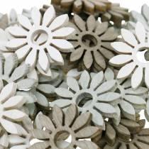 decorazioni da spargere fiore marrone, grigio chiaro, fiori di legno bianchi per spargere 144p