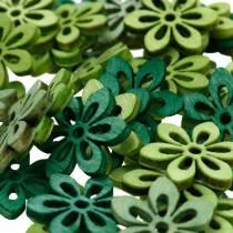 Cospargere fiori di decorazione verde, verde chiaro, fiori in legno di menta per cospargere 144p