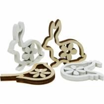 Spolverare decorazione conigli, galline e uccellini decorazioni pasquali in legno da spolverare 72pz
