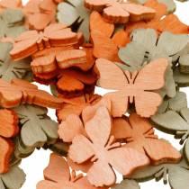 decorazioni da spargere farfalla farfalle in legno decoro estivo arancio, albicocca, marrone 144p