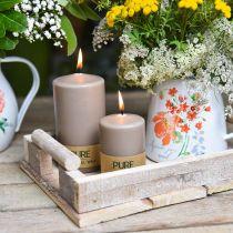 Candela pilastro puro marrone 90/60 candela di cera naturale decorazione sostenibile della candela di colza alla stearina