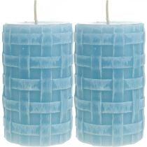 Candele in cera modello cesto, candele pilastro, candele Rustico azzurro 110/65 2pz