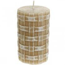Candele rustiche in cera, candele a colonna marroni, candele intrecciate 110/65 2 pezzi