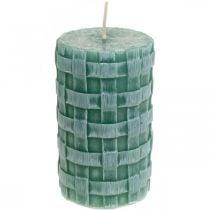 Candele con motivo intrecciato, candele a colonna Verde rustico, decorazione candela 110/65 2pz