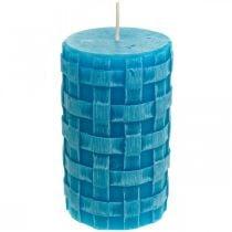 Candele rustiche a colonna, candele modello cesto, candele di cera turchese 110/65 2 pezzi