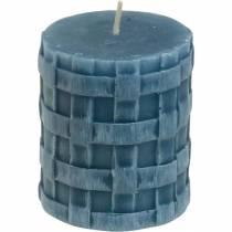 Candele pilastro rustico blu 80/65 candele rustiche 2pz