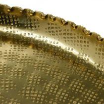 Vassoio rotondo in metallo, piatto decorativo dorato, decoro orientale Ø30cm