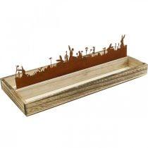 Vassoio decorativo Prato pasquale, decorazione primaverile, vassoio in legno con ruggine in acciaio inossidabile 35 × 15 cm