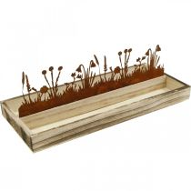 Vassoio in legno prato primaverile, decoro pasquale, vassoio decorativo nobile ruggine 35 × 15 cm