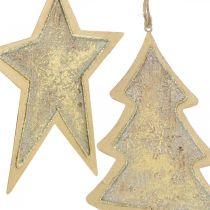 Ciondoli in metallo abete e stella, decorazioni per l'albero di Natale, decorazioni natalizie dorate, aspetto antico H15.5 / 17cm 4 pezzi