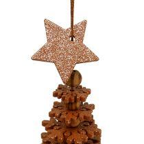 Addobbo natalizio Albero di Natale da sospendere con campana Colore rame 29cm