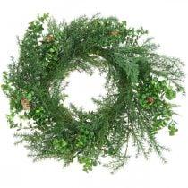 Ghirlanda decorativa con rami di conifere, pigne e bosso verde 60cm
