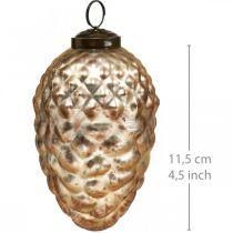 Ciondolo pigna, decorazioni per l'albero di Natale, decorazioni autunnali, vero vetro, aspetto antico Ø7cm H11,5cm 6 pezzi