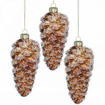 Pigne con neve, decorazioni natalizie, decorazioni per alberi di Natale Marrone H13cm Ø6cm Vero vetro 3 pezzi