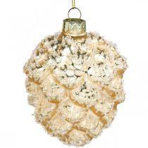 Coni da appendere, decorazioni per alberi, coni decorativi innevati Dorati H9,5cm Ø8cm vero vetro 3pz