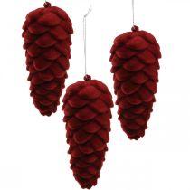 Appendino coni autunnali, addobbi avvento, pigne floccate rosse H13cm Ø6cm 6S