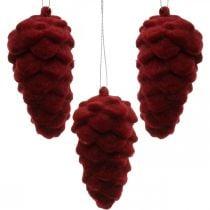Coni decorativi floccati, decorazione autunnale, pigne rosse, Avvento H8.5cm Ø4.5cm 8pz