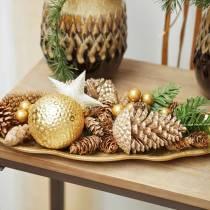 Pigne oro, glitter 13 cm 4 pezzi decorazioni per alberi di Natale