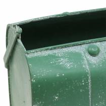 Borsa fioriera con manico in metallo verde, lavato bianco A20cm