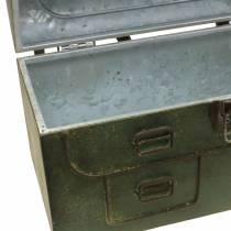 Borsa fioriera con coperchio e cinturini in pelle grigio metallo, marrone / ruggine A25cm