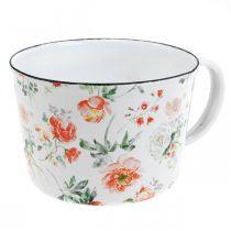 Coppa per piante smaltata, tazza decorativa con decoro rosa, fioriera Ø10cm H7cm