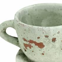 Tazza e piattino per fioriera vintage grigio, argilla naturale Ø8cm H6,5cm 4 pezzi