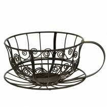 Tazza decorativa marrone scuro Ø23cm H13,8cm