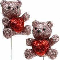 Plug decorativo orso con cuore, San Valentino, plug fiore glitter 9pz