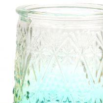 Tealight vetro arancione / giallo / turchese Ø8cm 3 pezzi