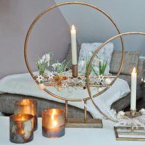 Candela in vetro, lanterna decorativa, decorazione da tavola aspetto antico Ø9,5cm H10cm 4 pezzi