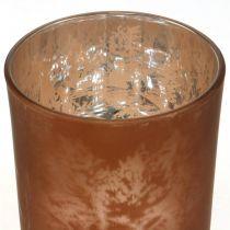 Lanterna in vetro, vetro tealight con motivo foglia, decoro autunnale Ø8cm H9cm 2 pezzi