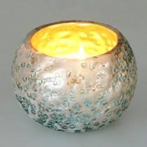 Lanterna in vetro argento blu ghiaccio Ø8,5cm H6cm