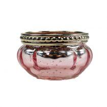 Tealight bicchiere rosa Ø6cm H3,5cm