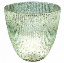 Candela lanterna in vetro blu verde decorazione tavolo vetro Ø21cm H21.5cm
