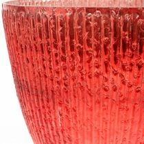 Candela lanterna in vetro vaso decorativo in vetro rosso Ø21cm H21.5cm