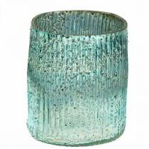 Tealight in vetro blu wind light decorazione da tavola in vetro 12cm