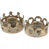 Portacandele in metallo per candele coniche ottica anticata oro Ø7cm 4pz