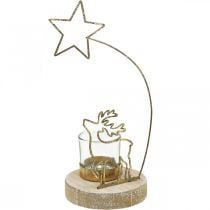 Portacandelina renna e stella di Natale in metallo Ø10cm H24cm