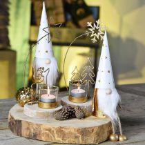 Gnomo natalizio decorativo bianco, oro Ø6.5cm H22cm 2 pezzi