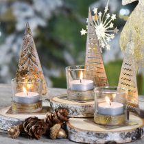 Portacandela albero di Natale in metallo, lanterna in vetro H15cm 3pz