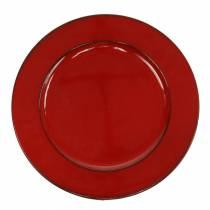 Piatto decorativo rosso / nero Ø22cm