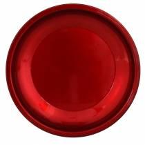Piatto decorativo in metallo rosso con effetto smalto Ø23cm