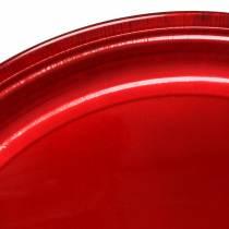 Piatto decorativo in metallo rosso con effetto smalto Ø50cm