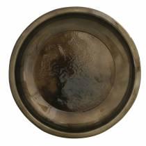 Piatto decorativo in metallo bronzo con effetto smalto Ø23,5cm