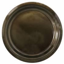 Piatto decorativo in metallo bronzo con effetto smalto Ø30cm