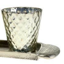 Piastra da tavolo con 3 bicchieri tealight argento Ø7cm H8cm