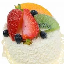Tortino decorativo con cibo fittizio alla fragola e frutta 7cm
