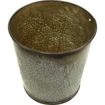 Fioriera per l'autunno, vaso in metallo con decoro a foglia, fioriera dorata Ø10cm H10cm